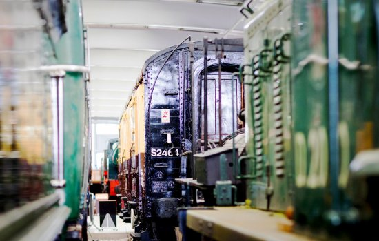 Locos in the collection building at Locomotion
