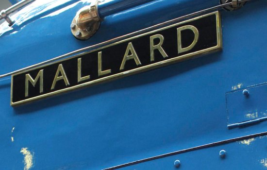 Close-up view of the nameplate on the locomotive Mallard