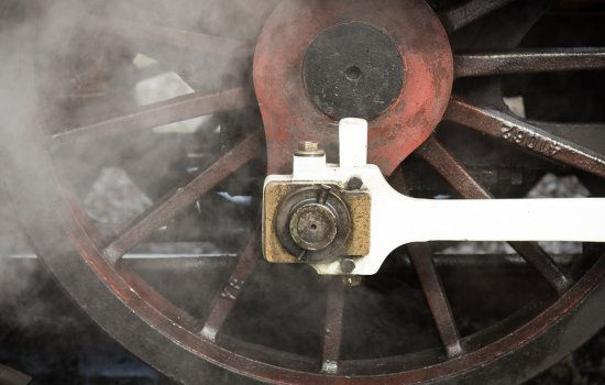 Locomotive wheels with steam