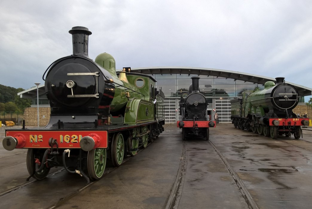 Locomotives outside the Collection Building at Locomotion