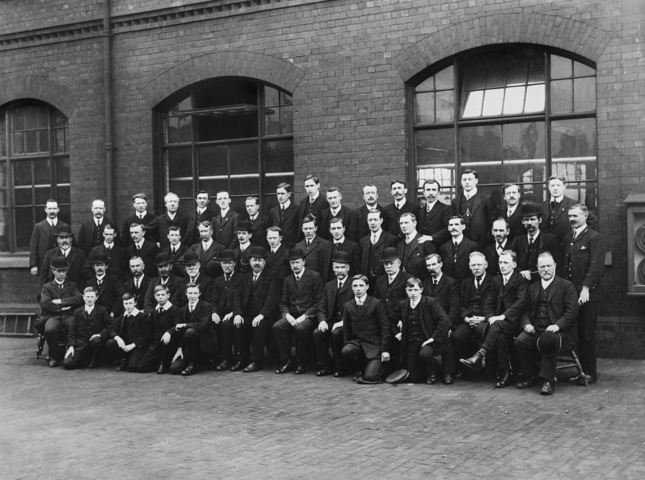 Black and white group photograph of staff at Shildon works, about 1935.