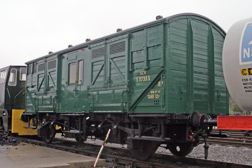 A green British Rail horse box