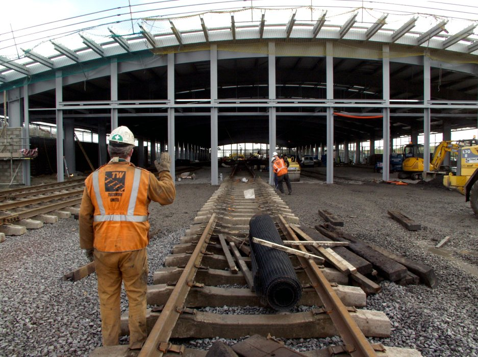 Construction of the track work outside the Collection building complex at Locomotion, 2004