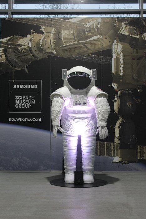 A space suit outside the Samsung VR lounge at Locomotion