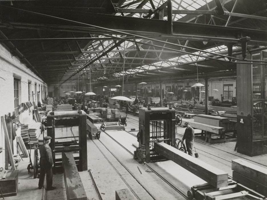 Wood being prepared for wagon manufacture, Shildon Works, about 1910