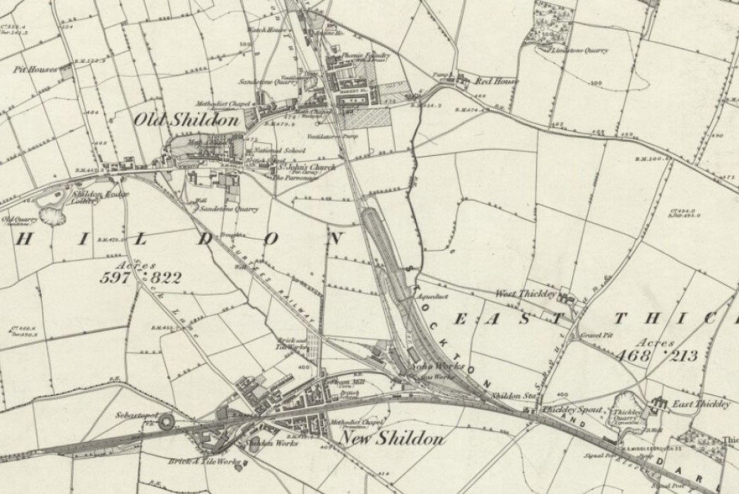 Old and New Shildon in 1857  Reproduced with the permission of the National Library of Scotland https://maps.nls.uk/index.html
