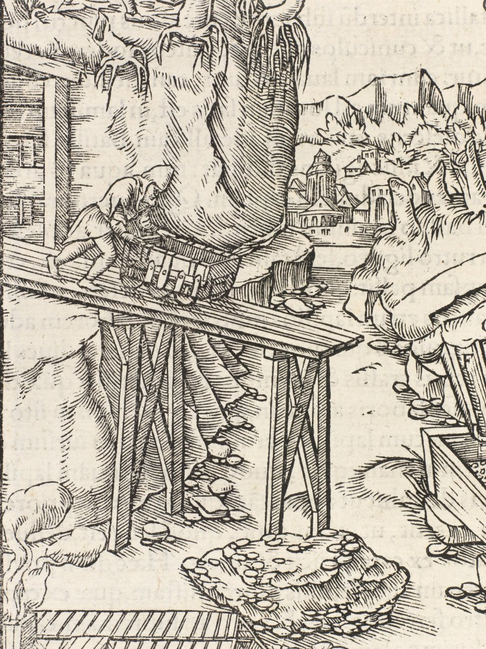 Detail of a plate from Agricola's De Re Metallica, showing a 16th century mine wagonway