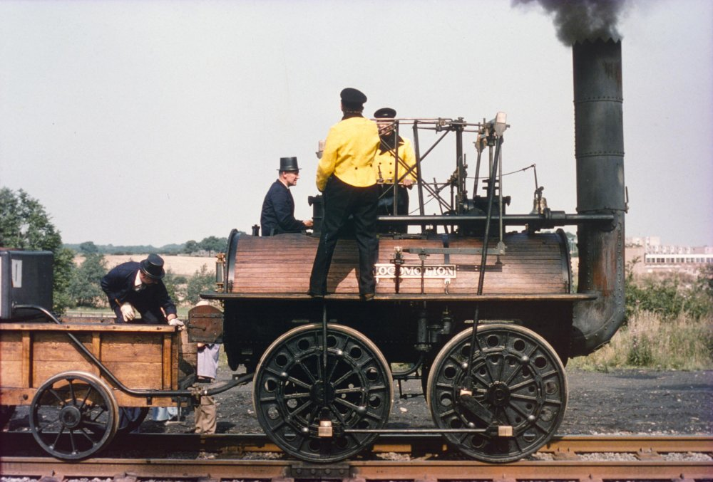 A locomotive in steam at British Rail's celebration of the Stockton & Darlington Railway, 1975