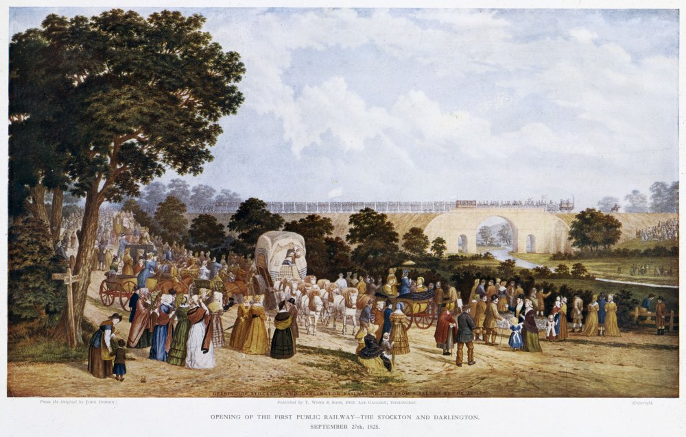 Print of a Watercolour by John Dobbin showing crowds gathered at the opening of the Stockton & Darlington Railway, 1825