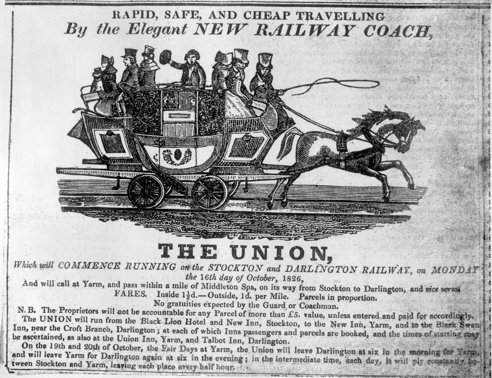 Notice advertising the Union railway coach, 1826