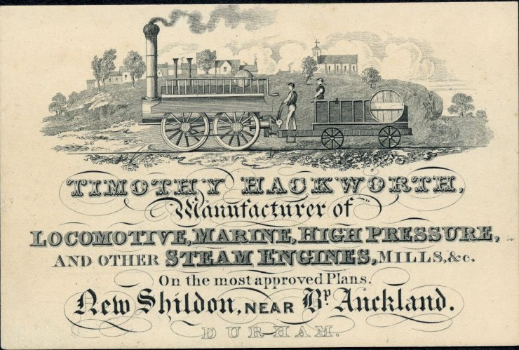 Timothy Hackworth's business card, illustrated with a steam locomotive