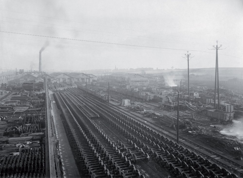 Shildon Wagon Works in 1946, seen from a crane gantry