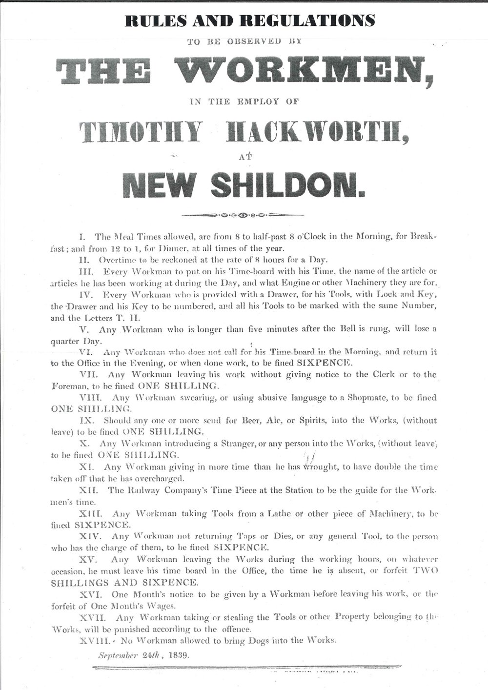 Rules and Regulations to be Observed by the Workmen in the Employ of Timothy Hackworth at New Shildon' (24 September 1839)